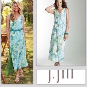 J Jill pacific blue silk blend floral maxi dress